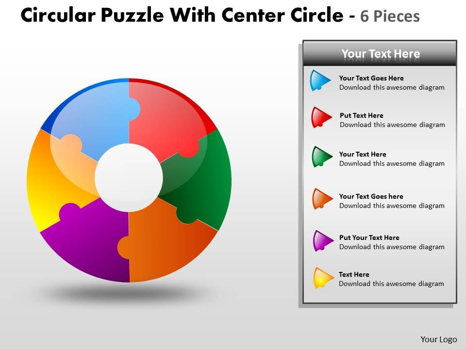 Circular Puzzle With Center Circle 6 Pieces Slide01 Slide02