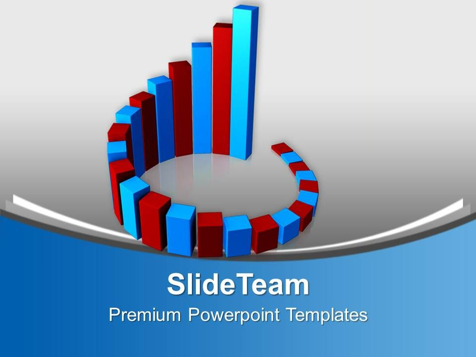 Circular Red And Blue Bar Graph Powerpoint Templates Ppt