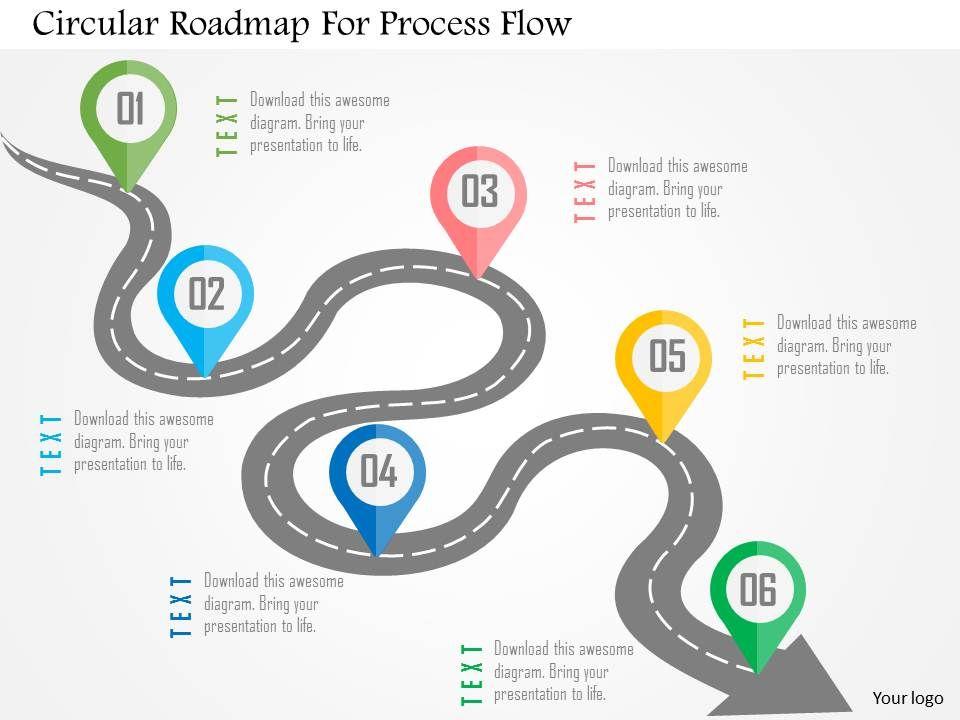 circular_roadmap_for_process_flow_flat_powerpoint_design_Slide01