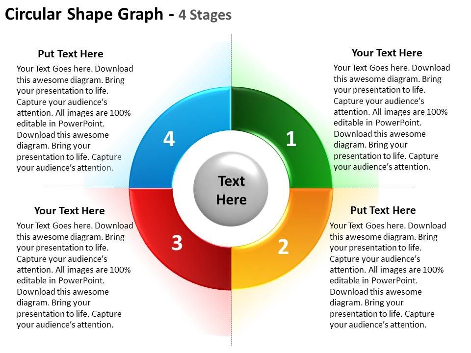 circular shape graph 4 stages using for strategy and timeline ...
