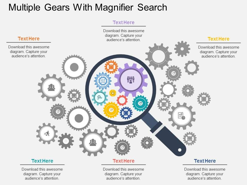 cj_multiple_gears_with_magnifier_search_flat_powerpoint_design_Slide01
