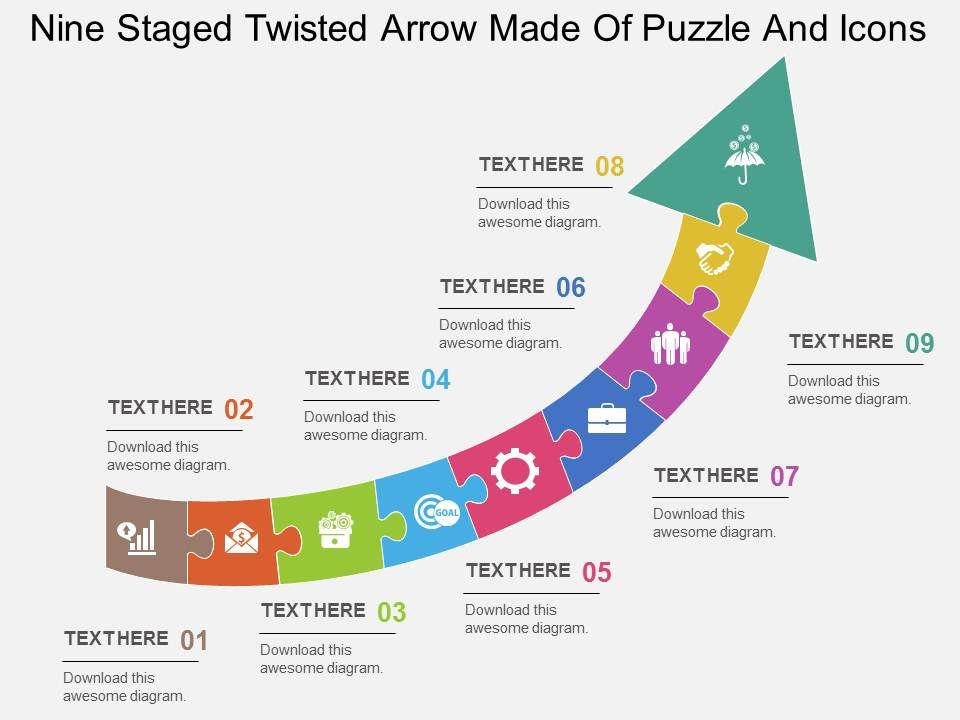 cl_nine_staged_twisted_arrow_made_of_puzzle_and_icons_flat_powerpoint_design_Slide01
