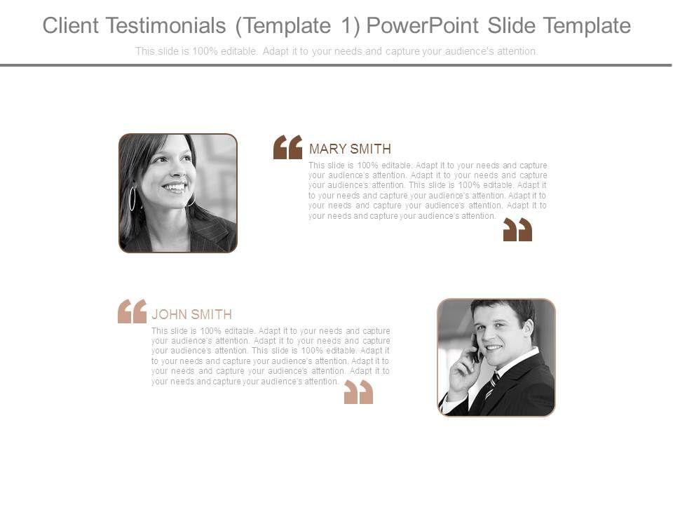 award winning sales slides showing client testimonials