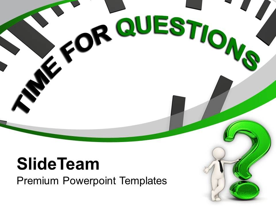 clock with tag time for questions powerpoint templates ppt, Presentation templates