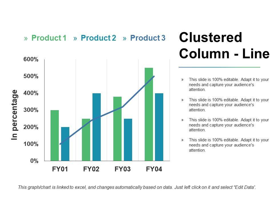 clustered column line ppt slides slideshow presentation graphics