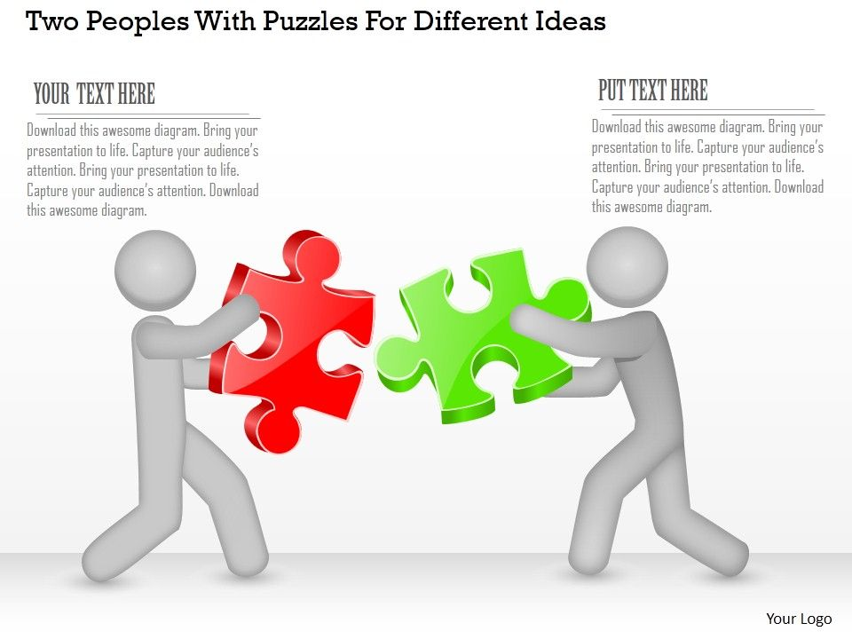 co_two_peoples_with_puzzles_for_different_ideas_powerpoint_template_Slide01