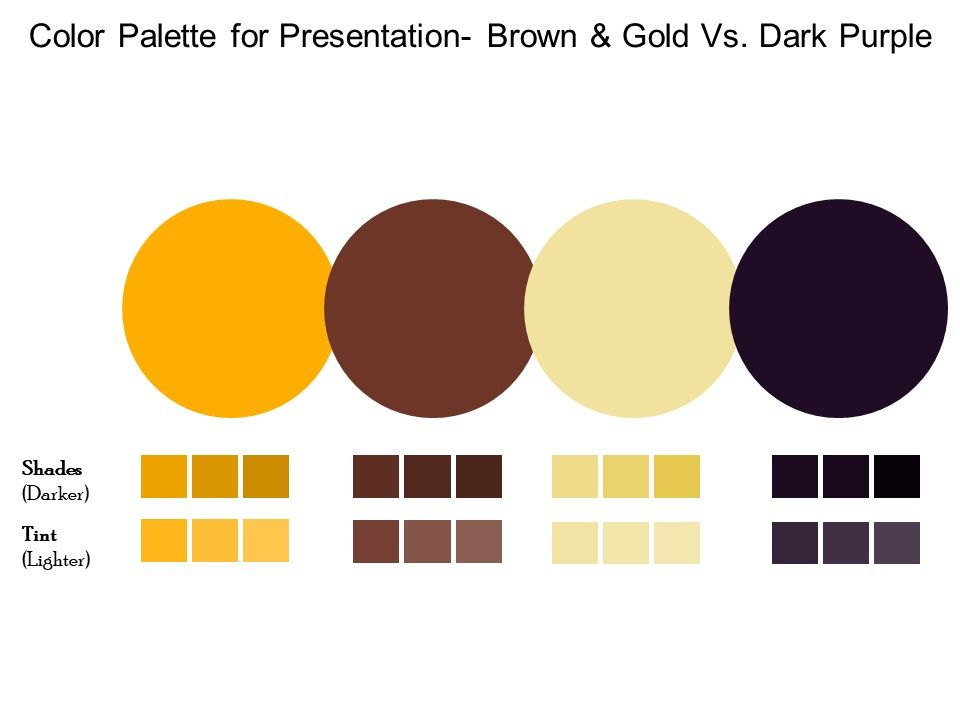 Color Palette For Presentation Brown And Gold Vs Dark Purple Templates Powerpoint Presentation Slides Template Ppt Slides Presentation Graphics