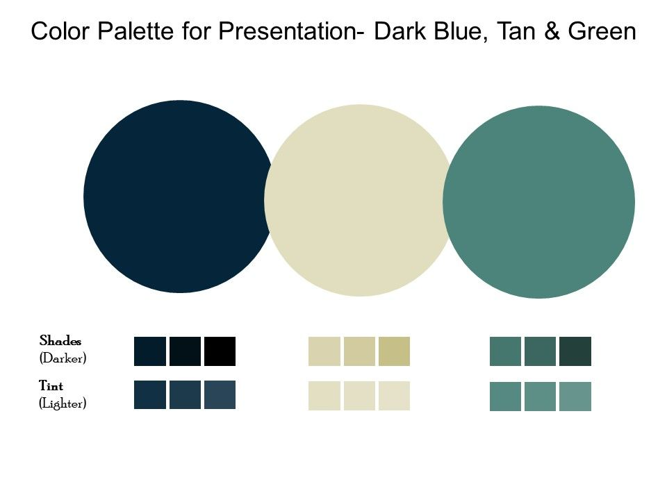Color Palette For Presentation Dark Blue Tan And Green Powerpoint