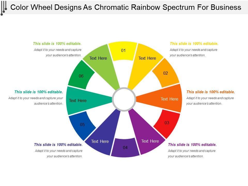 Color Wheel Designs As Chromatic Rainbow Spectrum For Business Slide01 Slide02