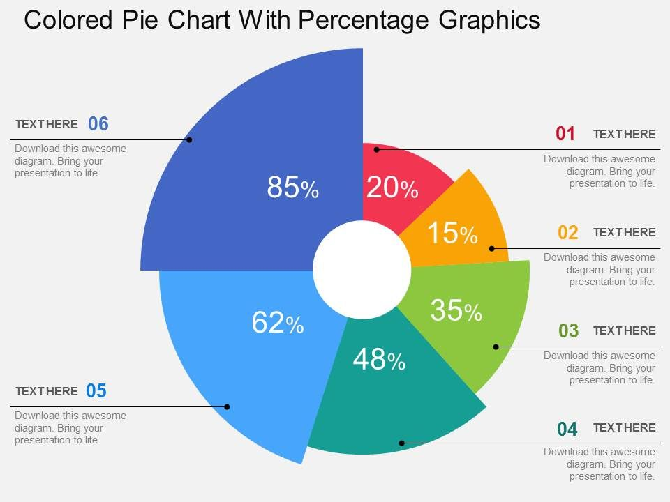Colored Pie Chart With Percentage Graphics Flat Powerpoint