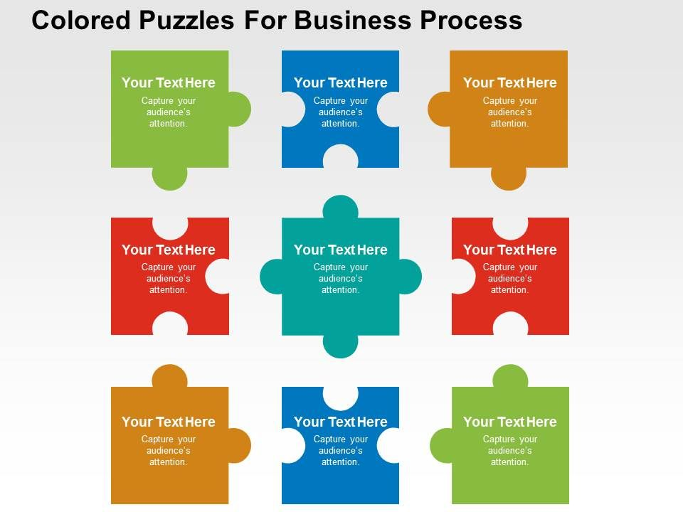 Diffrent Puzzle Shapes Fit In Process Diagram Powerpoint Templates