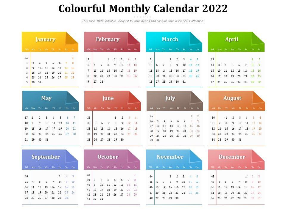 2022 2023 Calendar.Colourful Monthly Calendar 2022 Presentation Graphics Presentation Powerpoint Example Slide Templates