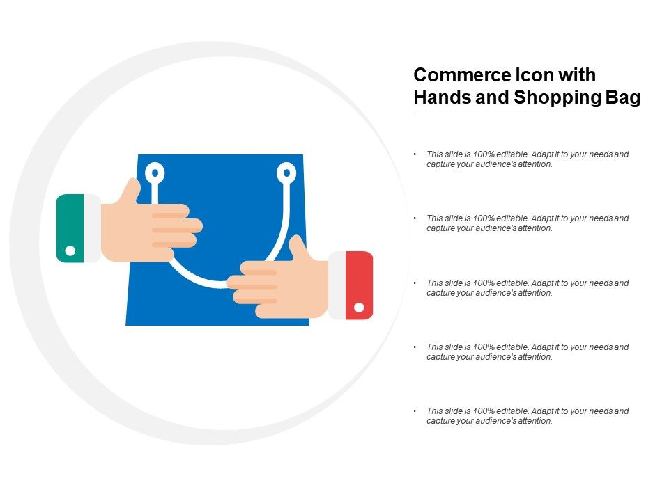 Commerce Icon With Hands And Shopping Bag