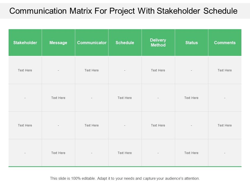 Communication Matrix For Project With Stakeholder Schedule Slide01 Slide02