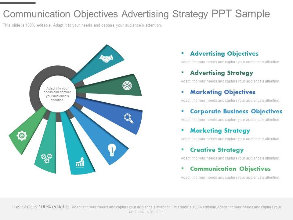 communication objectives advertising strategy ppt sample, Presentation templates