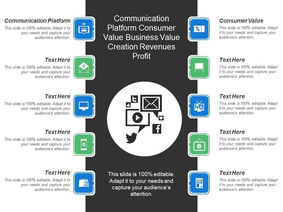 Communication Platform Consumer Value Business Value Creation Revenues Profit Powerpoint Presentation Designs Slide Ppt Graphics Presentation Template Designs