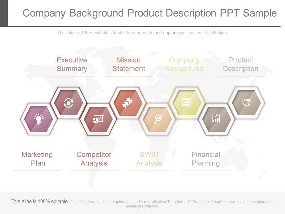 Company Background Product Description Ppt Sample | Presentation