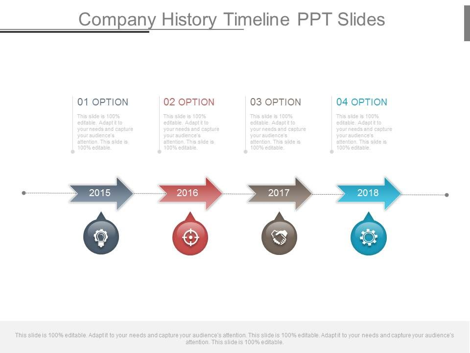 company history timeline ppt slides powerpoint shapes powerpoint