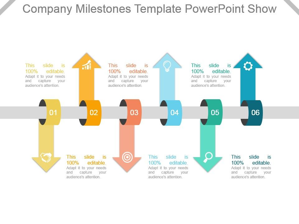 Company Milestones Template Powerpoint Show Slide01 Slide02
