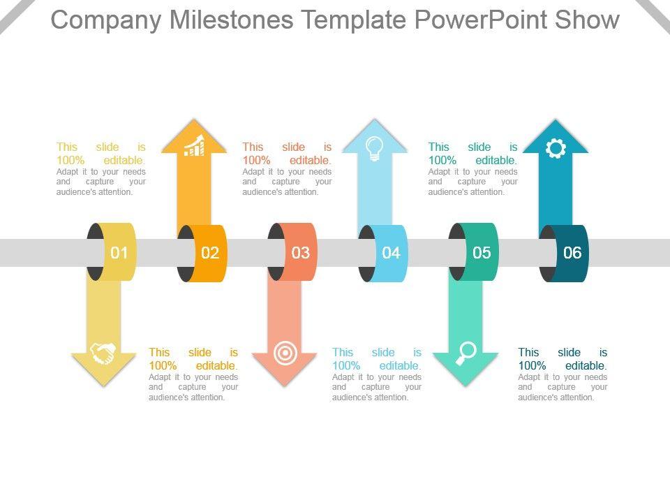 Company Milestones Template Powerpoint Show Slide01 Slide02