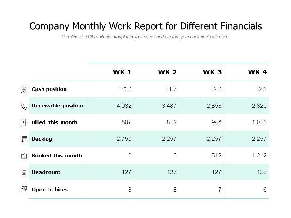 Company Monthly Work Report For Different Financials