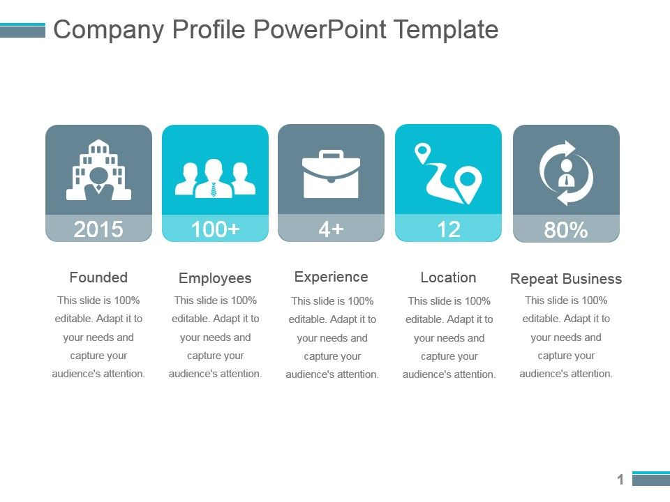 49986944 style linear single 5 piece powerpoint for How to make a company profile template