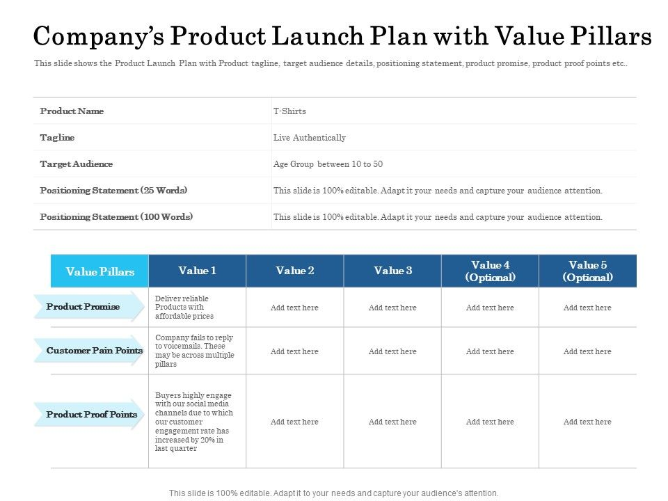 Companys Product Launch Plan With Value Pillars Ppt Powerpoint Presentation File Examples