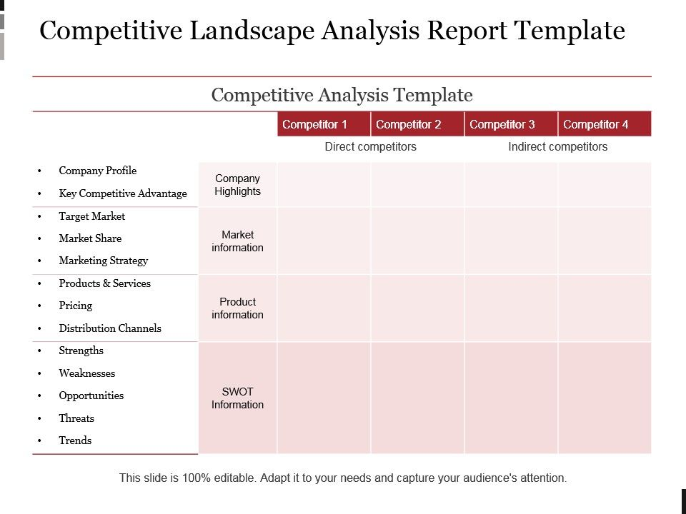 Competitive Landscape Analysis Report Template Example Ppt