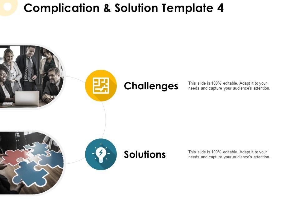Complication And Solution Template Puzzle Ppt Powerpoint