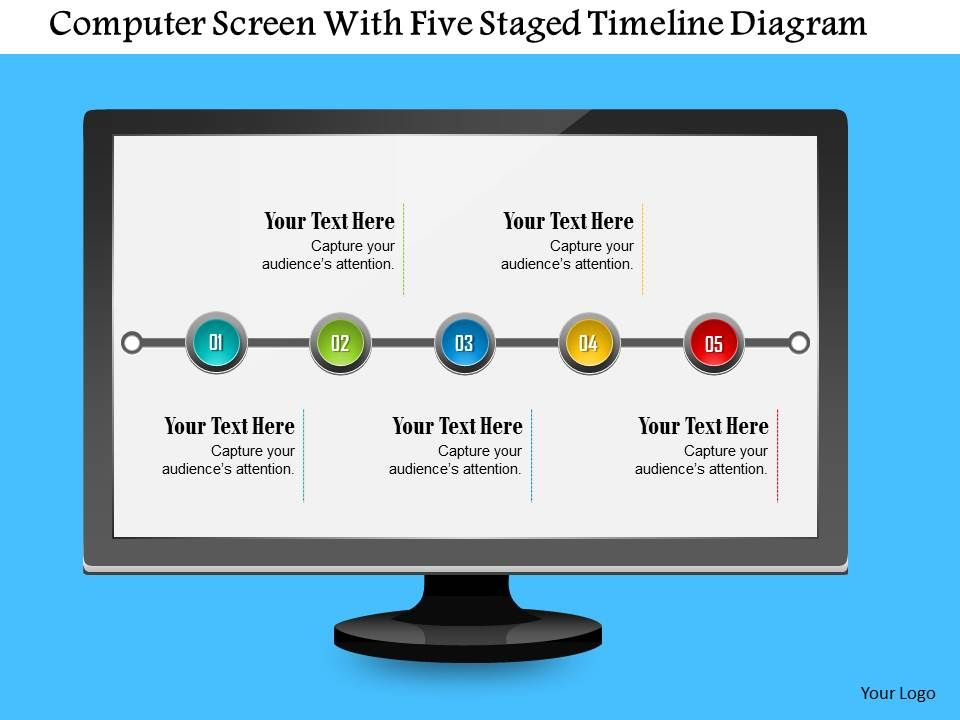 Computer Screen With Five Staged Timeline Diagram Powerpoint ...