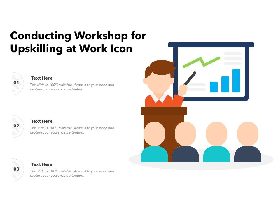 Conducting Workshop For Upskilling At Work Icon