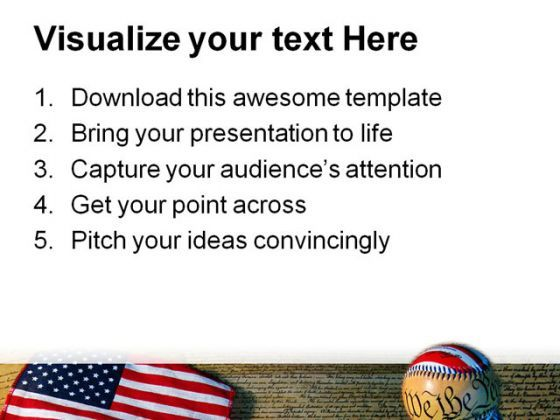 Constitution Baseball And Flag Americana Powerpoint Templates And