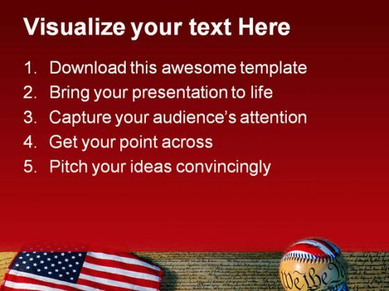 constitution baseball and flag americana powerpoint templates and, Modern powerpoint