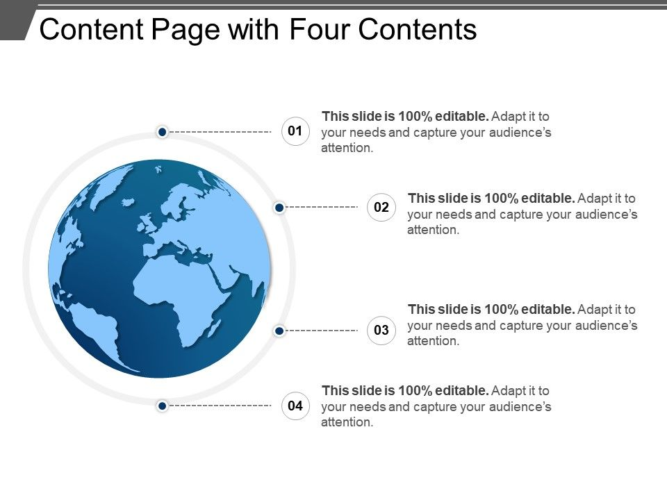 Content Page With Four Contents Presentation Powerpoint Images Example Of Ppt Presentation Ppt Slide Layouts