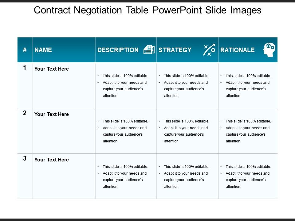 Contract Negotiation Table Powerpoint Slide Images Powerpoint