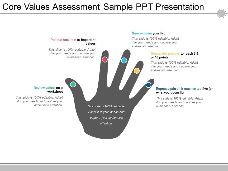 Core Values Assessment Sample Ppt Presentation Powerpoint