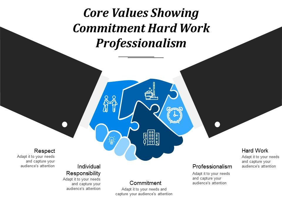 core values showing commitment hard work professionalism