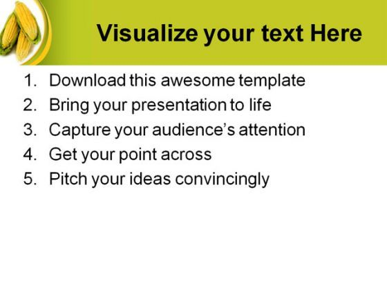 Maize Wallpaper For Presentation: Corn Nature PowerPoint Template 0610
