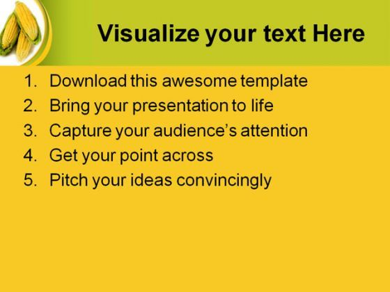 Corn Nature PowerPoint Template 0610
