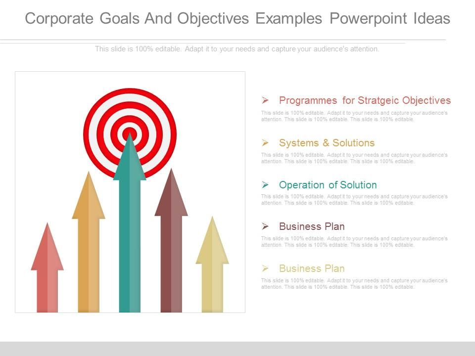 Corporate Goals And Objectives Examples Powerpoint Ideas