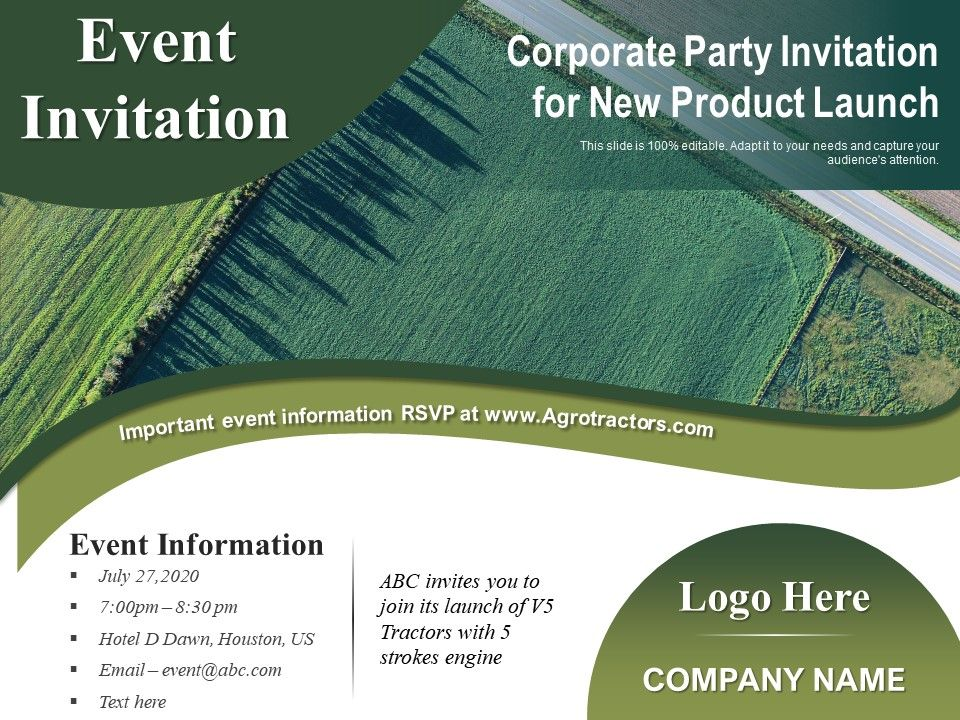 Corporate Party Invitation For New Product Launch