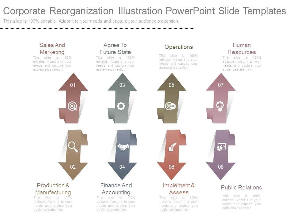 Corporate Reorganization Illustration Powerpoint Slide Templates