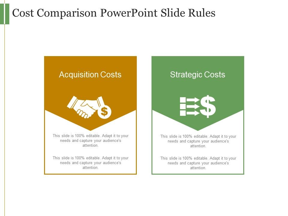 cost comparison powerpoint slide rules