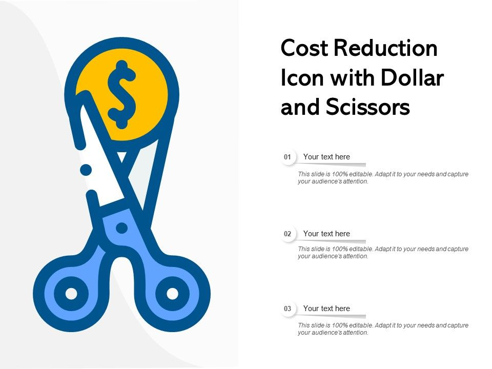 Cost Reduction Icon With Dollar And Scissors