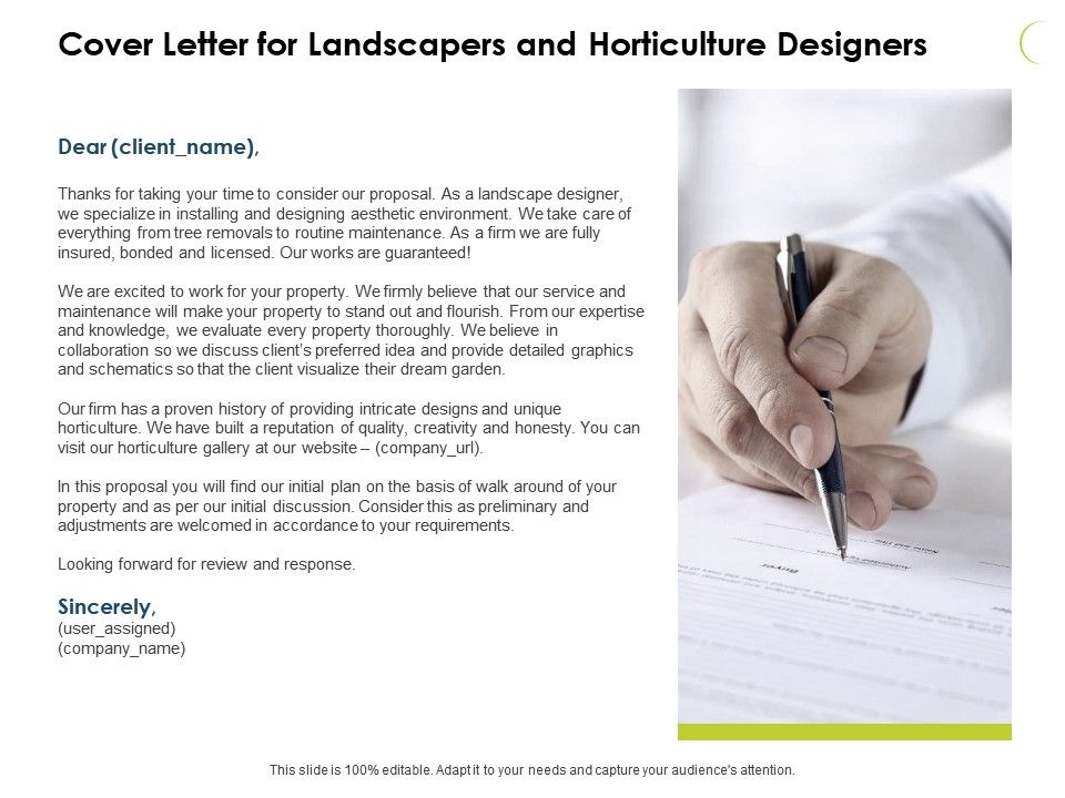 Cover Letter For Landscapers And Horticulture Designers Ppt ...