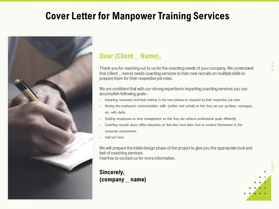 Cover Letter For Manpower Training Services Ppt Powerpoint Presentation Styles Example Topics