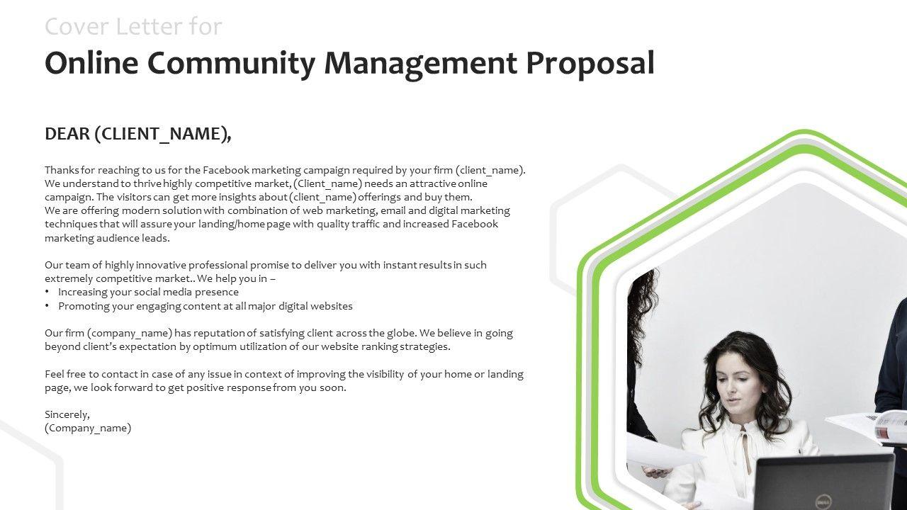 Cover Letter For Online Community Management Proposal Ppt Powerpoint Presentatio Slides