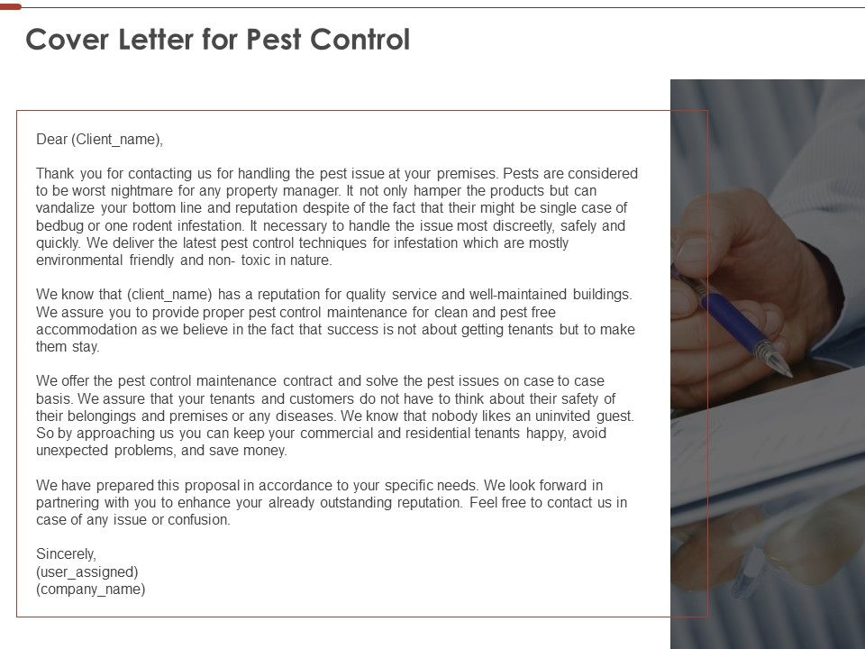 Cover Letter For Pest Control Ppt Powerpoint Presentation ...