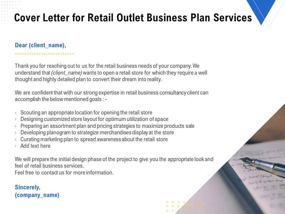 Cover Letter For Retail Outlet Business Plan Services Ppt Powerpoint Presentation Styles Presentation Graphics Presentation Powerpoint Example Slide Templates
