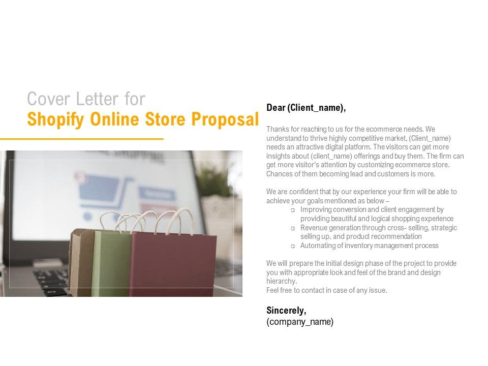 Cover Letter For Shopify Online Store Proposal Ppt ...